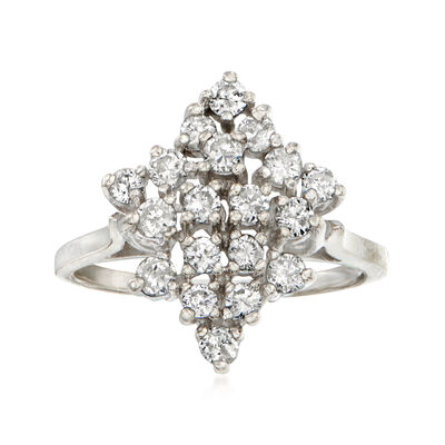 C. 1970 Vintage .95 ct. t.w. Diamond Cluster Ring in 14kt White Gold