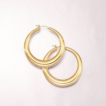 "Italian 18kt Yellow Gold Large Graduated Hoop Earrings. 2"", , default"