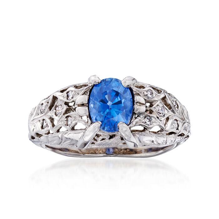 C. 1990 Vintage 1.20 Carat Sapphire and .12 ct. t.w. Diamond Ring in Platinum. Size 5.5, , default