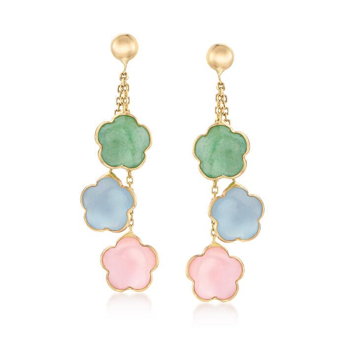 Italian Multi-Gemstone Drop Earrings in 14kt Yellow Gold, , default