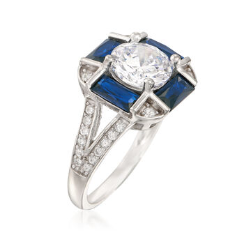 2.17 ct. t.w. CZ and Synthetic Spinel Ring in Sterling Silver, , default