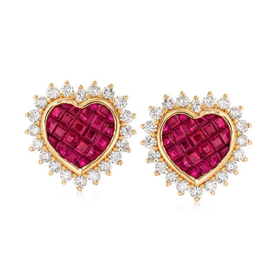 1.70 ct. t.w. Ruby and 1.10 ct. t.w. Diamond Heart Earrings in 18kt Yellow Gold