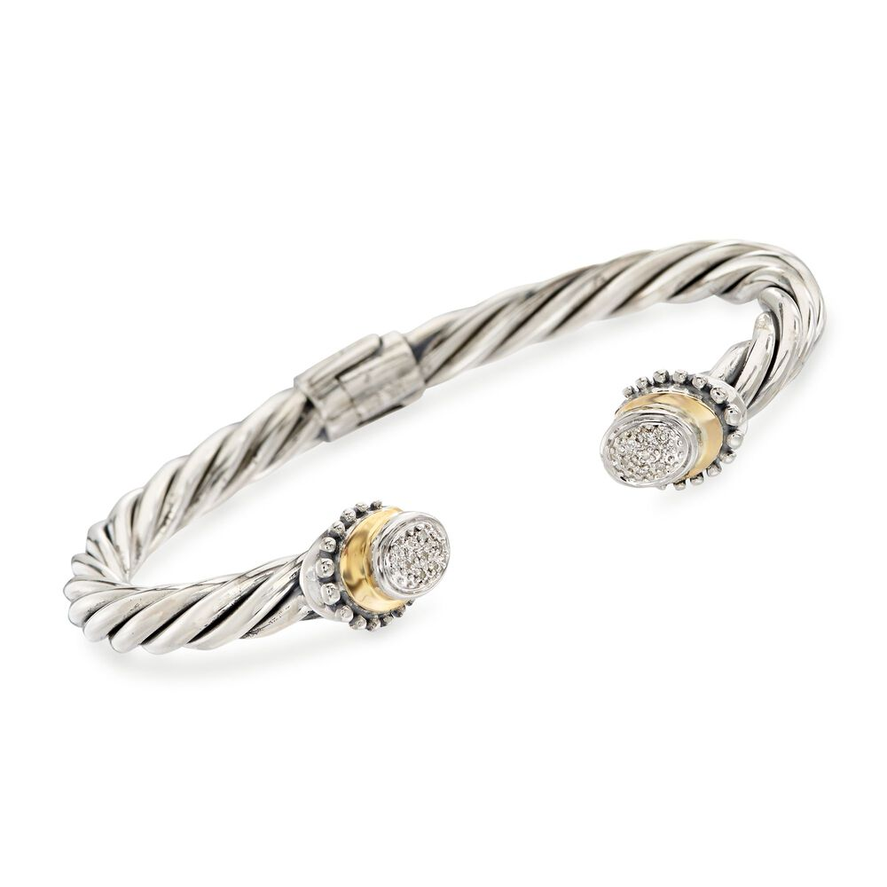 Sterling Silver Cable Cuff Bracelet With 18kt Yellow Gold And Diamond Accents Default