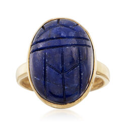 16.00 Carat Sapphire Scarab Ring in 18kt Yellow Gold Over Sterling, , default