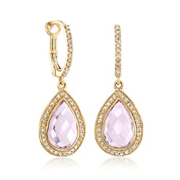 4.00 ct. t.w. Amethyst and .32 ct. t.w. Diamond Drop Earrings in 14kt Yellow Gold, , default