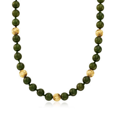 C. 1980 Vintage 10mm Nephrite Bead Necklace with 14kt Yellow Gold