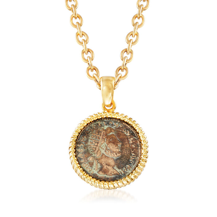 Italian Bronze Coin Pendant Necklace in 18kt Gold Over Sterling Silver. 18""