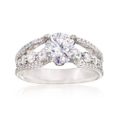 Simon G. .91 ct. t.w. Diamond Engagement Ring Setting in 18kt White Gold, , default
