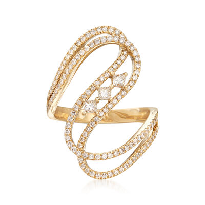 .80 ct. t.w. Diamond Wave Ring in 14kt Yellow Gold, , default