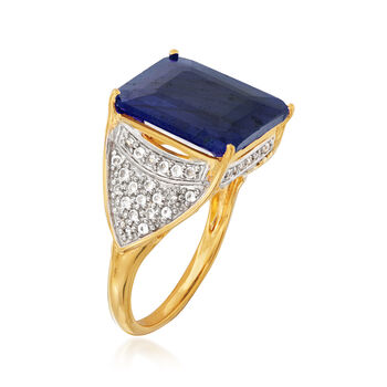 10.00 Carat Sapphire and .40 ct. t.w. White Topaz Ring in 18kt Gold Over Sterling