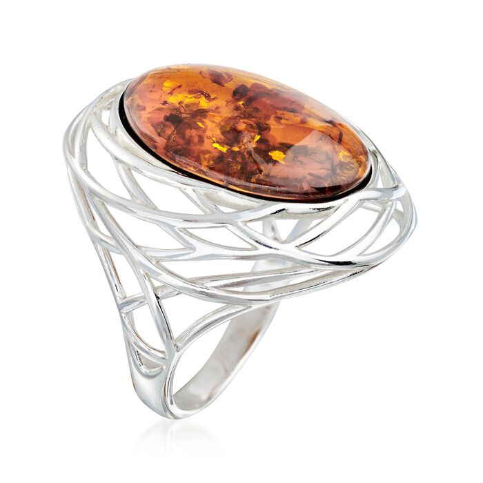 Amber Openwork Ring in Sterling Silver