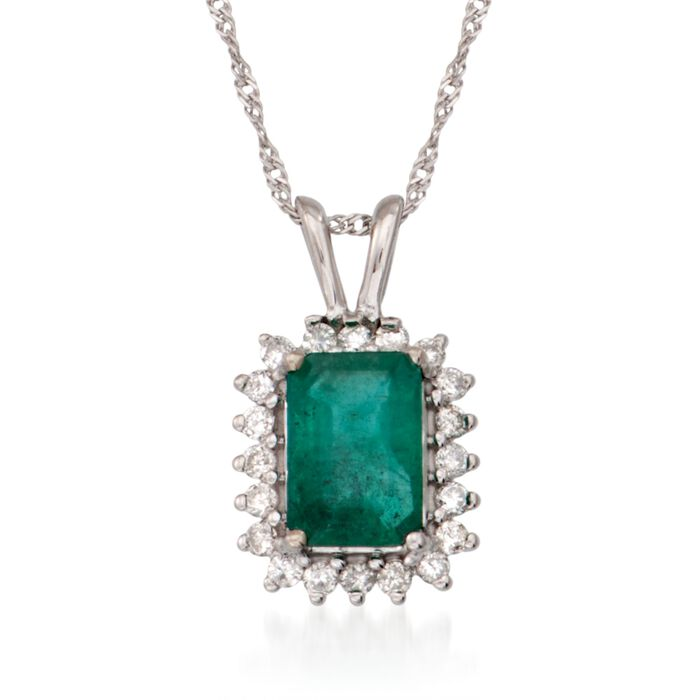 1.00 Carat Emerald and .15 ct. t.w. Diamond Pendant Necklace in 14kt White Gold