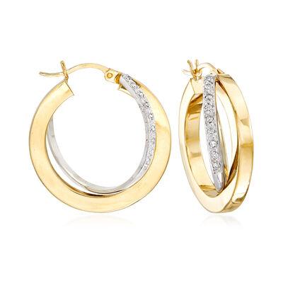 C. 1990 Vintage .20 ct. t.w. Diamond Crisscross Hoop Earrings in 14kt Two-Tone Gold, , default