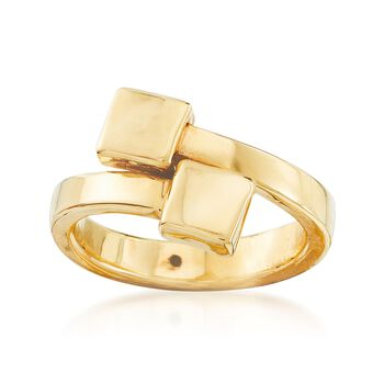 Italian 14kt Yellow Gold Double-Square Bypass Ring, , default