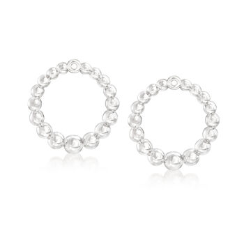 Italian Sterling Silver Beaded Jewelry Set: Earrings and Earring Jackets, , default