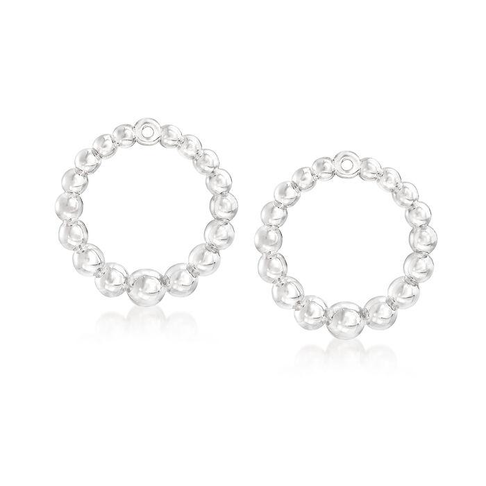Italian Sterling Silver Beaded Jewelry Set: Earrings and Earring Jackets