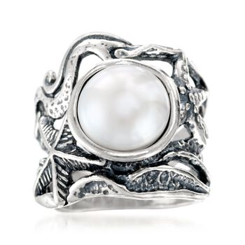 11mm Cultured Pearl Openwork Sea Life Ring in Sterling Silver, , default