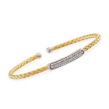 "Charles Garnier ""Nardini"" .40 ct. .W. CZ Cuff Bracelet in 18kt Yellow Gold Over Sterling. 7"", , default"