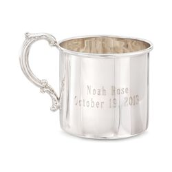 Baby's Sterling Silver Personalized Cup With Scroll Handle , , default