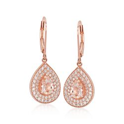1.00 ct. t.w. Morganite and .75 ct. t.w. CZ Drop Earrings in 14kt Rose Gold Gold, , default