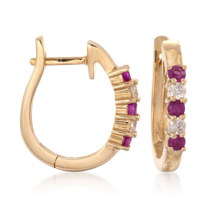""".25 ct. t.w. Ruby and .10 ct. t.w. Diamond Hoop Earrings in 14kt Yellow Gold. 1/2"""""""