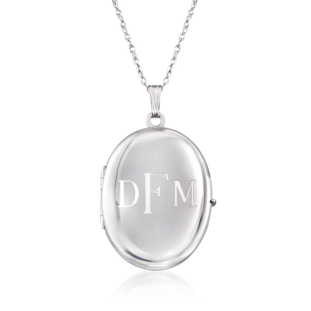 """e8ab04eff2b424 Sterling Silver Personalized Four-Photo Oval Locket Necklace. 20"""", ,  default"""