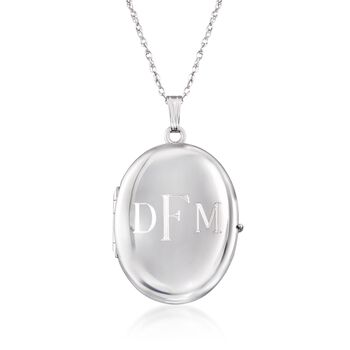 """Sterling Silver Personalized Four-Photo Oval Locket Necklace. 20"""", , default"""