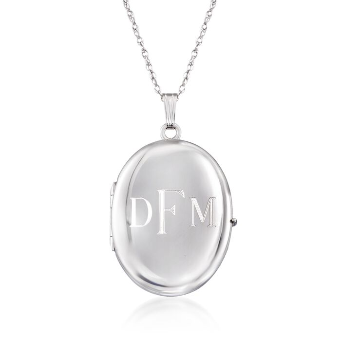 "Sterling Silver Personalized Four-Photo Oval Locket Necklace. 20"", , default"