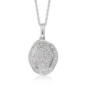 ".12 ct. t.w. Pave Diamond Pendant Necklace in 14kt White Gold. 18"", , default"