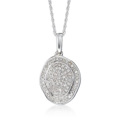 .12 ct. t.w. Pave Diamond Pendant Necklace in 14kt White Gold, , default