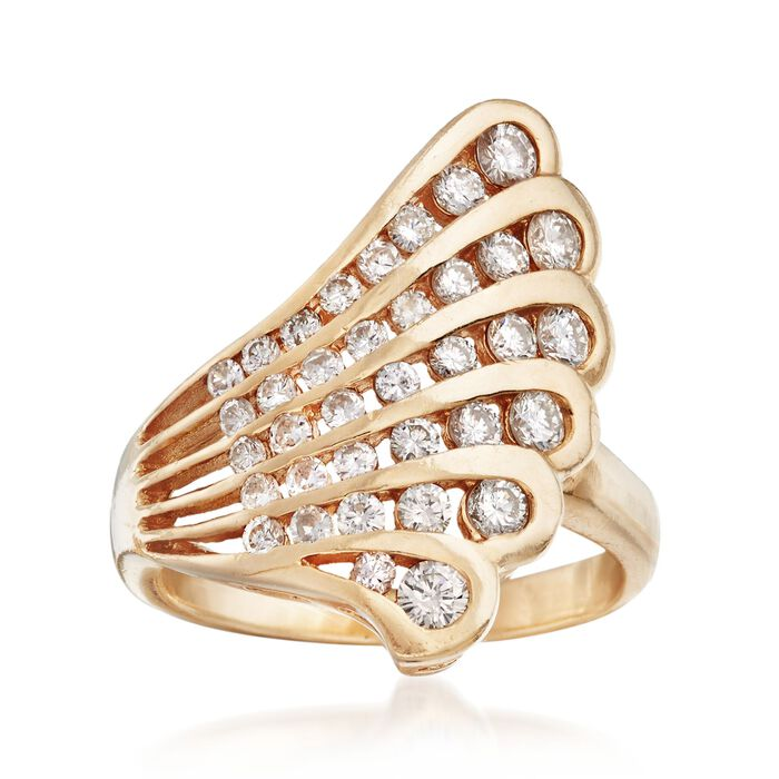 C. 1980 Vintage 1.30 ct. t.w. Diamond Scalloped Ring in 14kt Yellow Gold. Size 7.75, , default