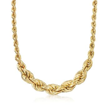 Italian 18kt Gold Over Sterling Graduated Twisted Rope Chain Necklace, , default