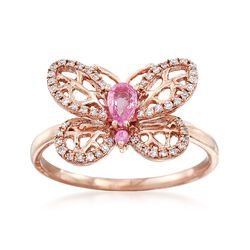 .22 ct. t.w. Pink Sapphire and .15 ct. t.w. Diamond Butterfly Ring in 14kt Rose Gold, , default