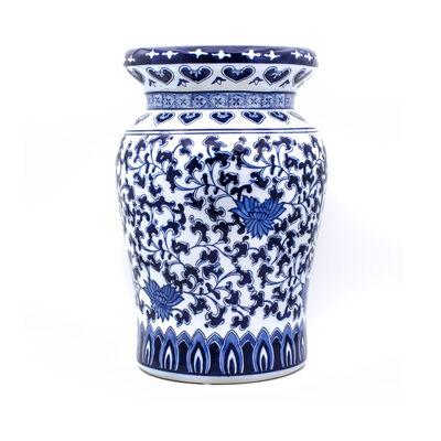 "Euro Ceramica ""Blue Garden"" Lotus Porcelain Stool, , default"