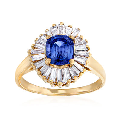 C. 1980 Vintage 1.58 Carat Sapphire and 1.00 ct. t.w. Diamond Ring in 14kt Yellow Gold