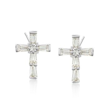 .53 ct. t.w. Baguette and Round CZ Cross Earrings in Sterling Silver, , default