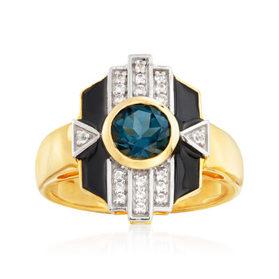 1.00 Carat London Blue Topaz and .13 ct. t.w. White Topaz Ring with Black Enamel in 18kt Gold Over Sterling