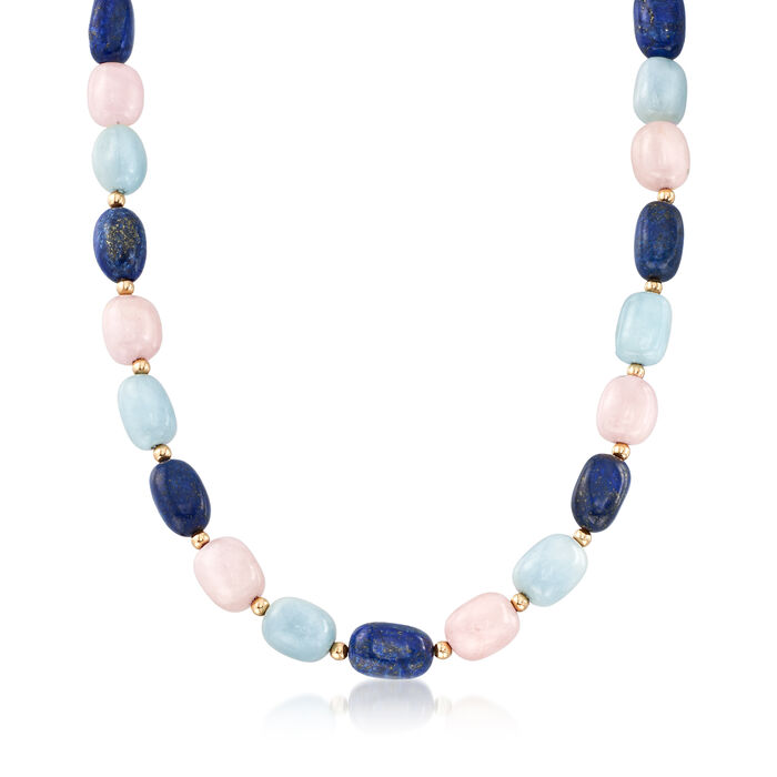 Pink and Blue Multi-Stone Bead Necklace with 14kt Yellow Gold, , default