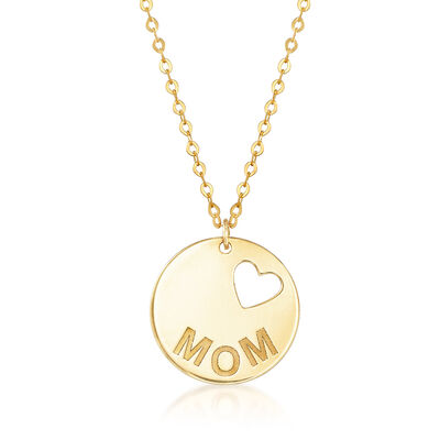 "Italian 14kt Yellow Gold ""Mom"" Script Necklace with Cut-Out Heart, , default"