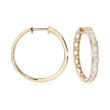 """2.00 ct. t.w. Diamond Hoop Earrings in 14kt Yellow Gold. 1 1/8"""", , default"""