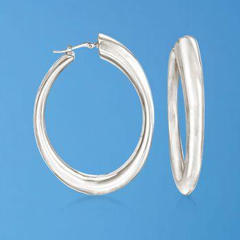 """Sterling Silver Oval Hoop Earrings. 1 3/8"""", , default"""