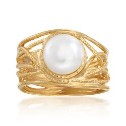 8mm Cultured Pearl Textured Openwork Ring in 18kt Gold Over Sterling, , default