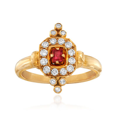 C. 1990 Vintage .15 Carat Ruby and .40 ct. t.w. Diamond Cocktail Ring in 18kt Yellow Gold, , default