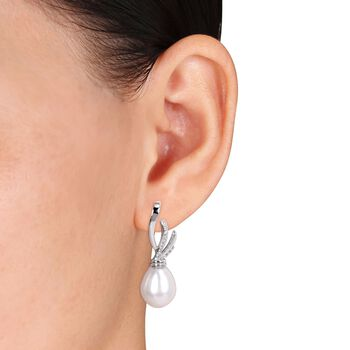 11-11.5mm Cultured South Sea Pearl and .16 ct. t.w. Diamond Ribbon Drop Earrings in 14kt White Gold , , default