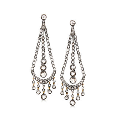 C. 1980 Vintage 4.20 ct. t.w. Diamond Chandelier Earrings in Sterling Silver and 10kt Yellow Gold, , default