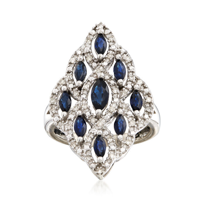 C. 1990 Vintage .85 ct. t.w. Sapphire and .25 ct. t.w. Diamond Cluster Ring in 10kt White Gold. Size 6