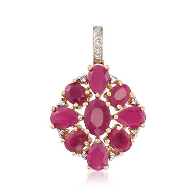 5.30 ct. t.w. Ruby Cluster Pendant with Diamond Accents in 14kt Yellow Gold, , default