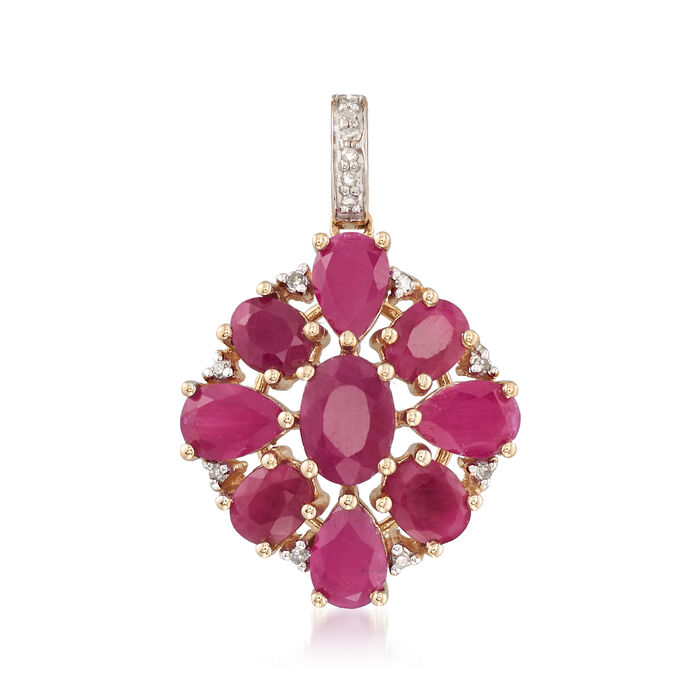 5.30 ct. t.w. Ruby Cluster Pendant with Diamond Accents in 14kt Yellow Gold , , default