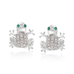 Sterling Silver Frog Stud Earrings With  Emeralds and Diamond Accents, , default