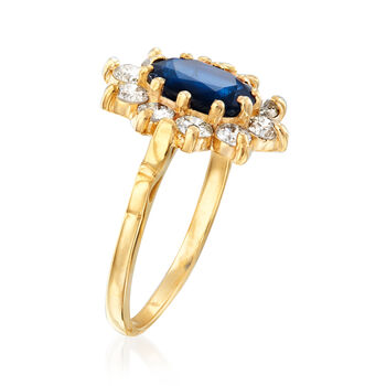 C. 1980 Vintage 1.50 Carat Sapphire and .70 ct. t.w. Diamond Ring in 14kt Yellow Gold. Size 6, , default